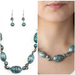 GATHERER GLAMOUR BLUE NECKLACE/EARRING SET